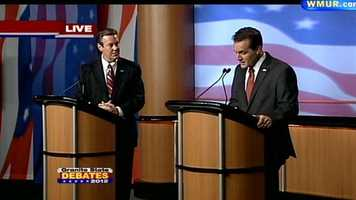Kevin Smith asks Ovide Lamontagne about his campaign's message at the Republican Governor's debate.