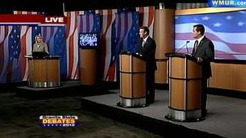 Republican candidates Kevin Smith and Ovide Lamontagne deliver their closing remarks at the Republican Governor's debate.