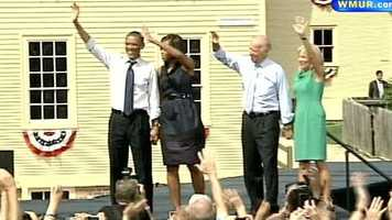 Michelle Obama and Jill Biden joined the stage to wave goodbye to the crowd.
