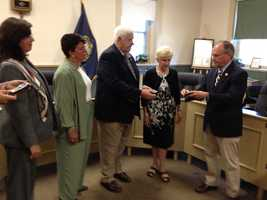 Rep. Charlie Bass presented service medals to the family of Christopher Y. Vars, a Navy aviator was reported missing in action on Nov. 29, 1950.