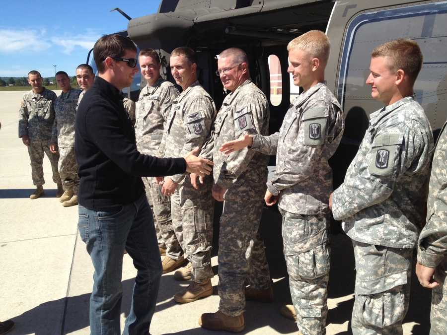 NASCAR driver Denny Hamlin visits with National Guard troops in Concord.