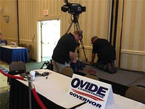 Setting up for a live satellite shot at Ovide Lamontagne's camp in Concord. Prep work for election night begins hours in advance (days really).