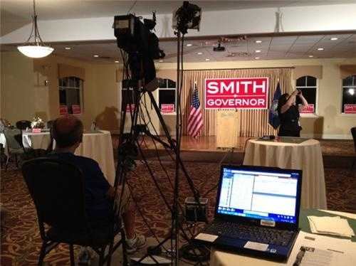 Waiting for the candidate to arrive at Kevin Smith's campaign headquarters.
