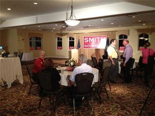 The scene from Smith campaign headquarters.
