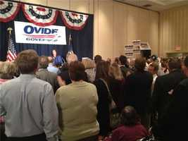 At around 9:15 p.m., supporters at Ovide Lamontagne's campaign headquarters learned that opponent Kevin Smith conceded.
