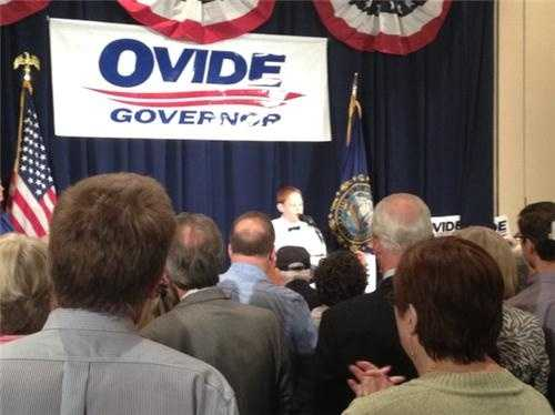 Christopher Duffley singing God Bless America at Ovide Lamontagne's campaign HQ.