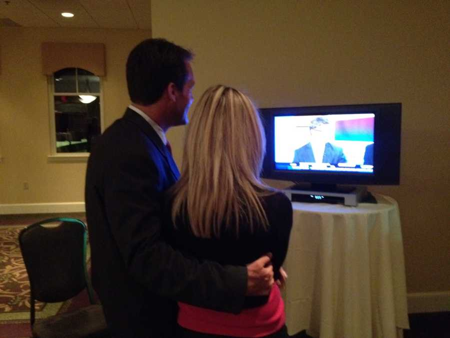 Kevin Smith and his wife Suzy watching News 9 election coverage.