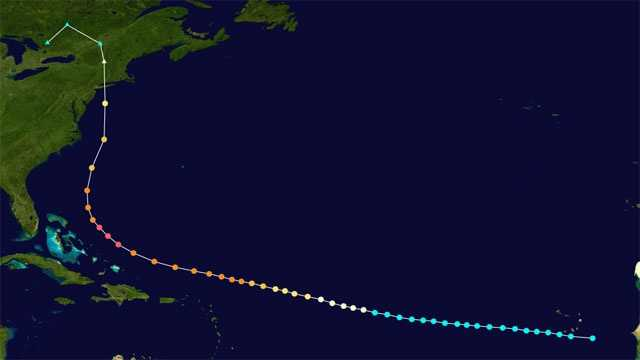 The hurricane slowly moved along in the Atlantic Ocean after forming off the coast of Africa around Sept. 10, 1938. Once the storm took a turn to the north, it sped up rapidly, moving from the North Carolina coast to Canada. It traveled 600 miles in just 12 hours.