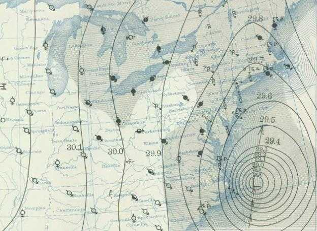 The Great New England Hurricane of 1938 killed an estimated 600-800 people in its path, causing widespread damage in Connecticut, Rhode Island, Massachusetts, New Hampshire, Vermont and even in Canada. This historical map shows it off the coast of North Carolina on Sept. 21, the day it quickly moved up the coast.