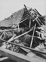 The storm hit New England first in Connecticut, making landfall as a Category 3 hurricane. This tobacco barn in Hartford, Conn. was destroyed.
