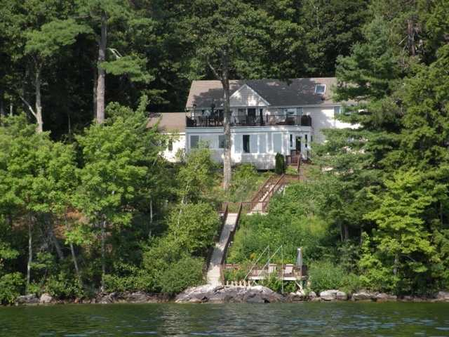The home at 104 Broadsides Road in Wolfeboro includes a total of 1.19 acres, 101 feet of private waterfront and it's close to downtown Wolfeboro.