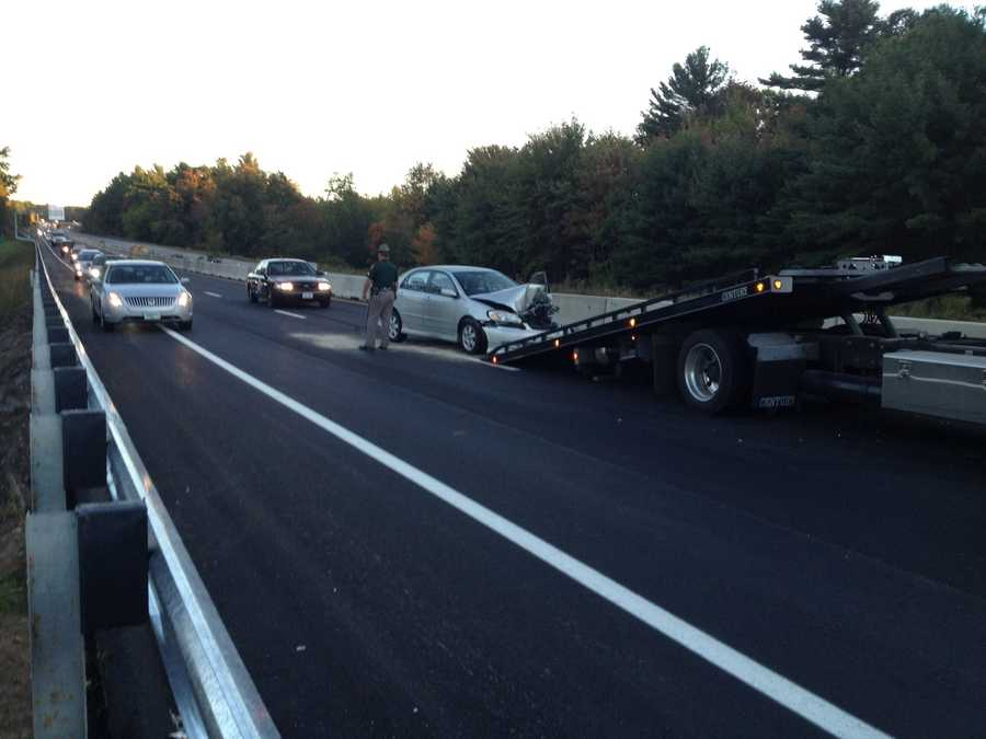 A series of accidents on Interstate 93 southbound were causing major backups Monday morning.