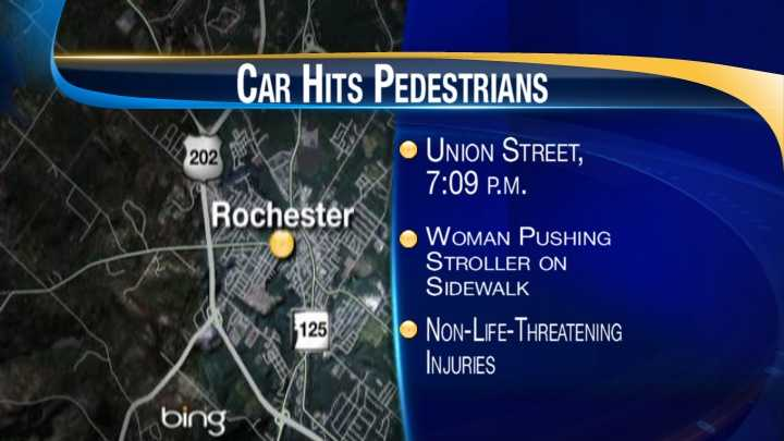Car hits woman pushing stroller on sidewalk