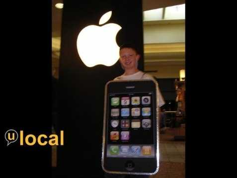 Going along with the latest tech craze, here's an iPhone costume.
