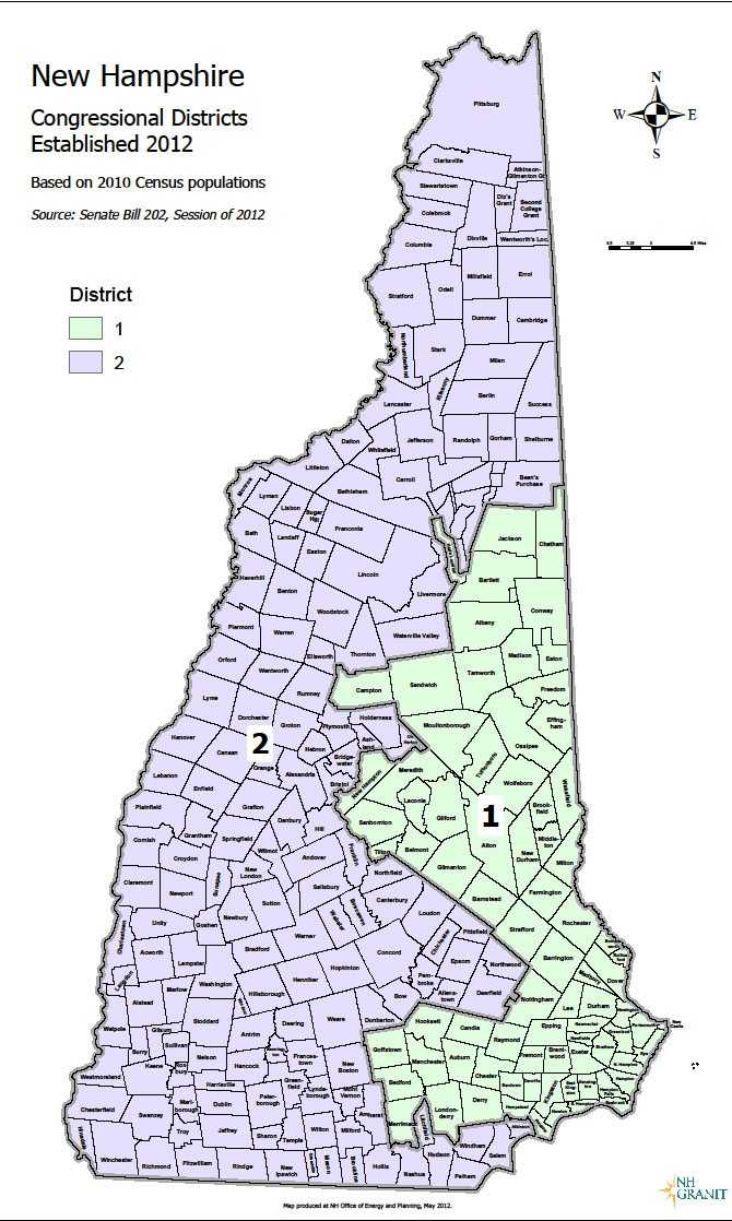Here is how the Congressional districts were redrawn in New Hampshire after the 2010 U.S. census. Click here for a detailed look at the new district lines.