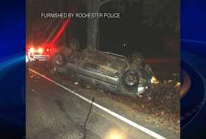 A driver was able to walk away after flipping his pickup truck while trying to avoid a deer in the road in Rochester on Sunday.