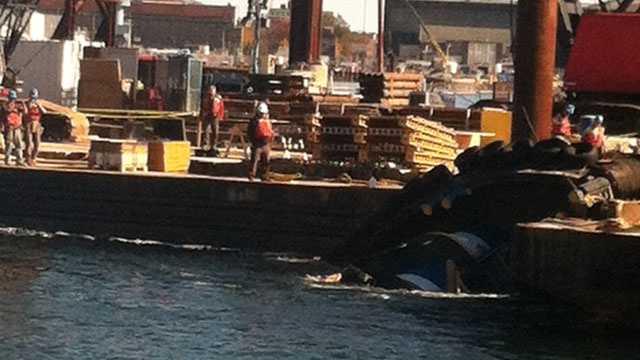 Capsized tugboat