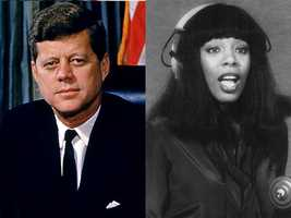 3) John and Donna(Pictured: President John F. Kennedy and Singer Donna Summer)