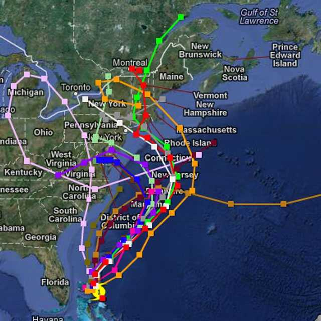 Here's a look at the several potential tracks for Sandy.