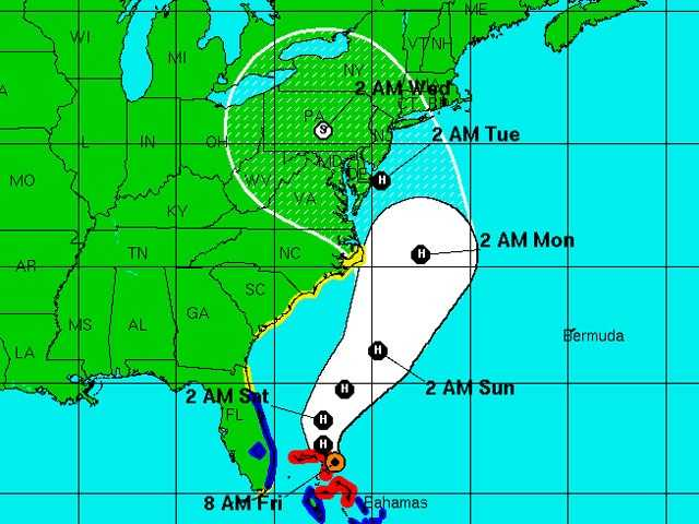 Here's the latest projection from the National Hurricane Center.