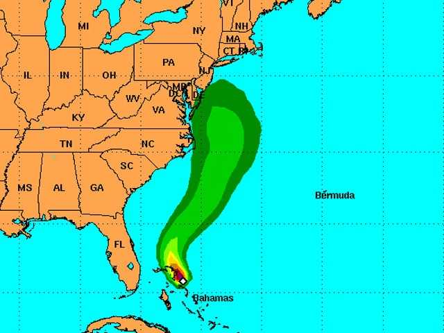 This map shows the potential for Hurricane-Force winds. At the moment, areas shaded in green mean that area has a 5%-10% chance of seeing winds that strong.