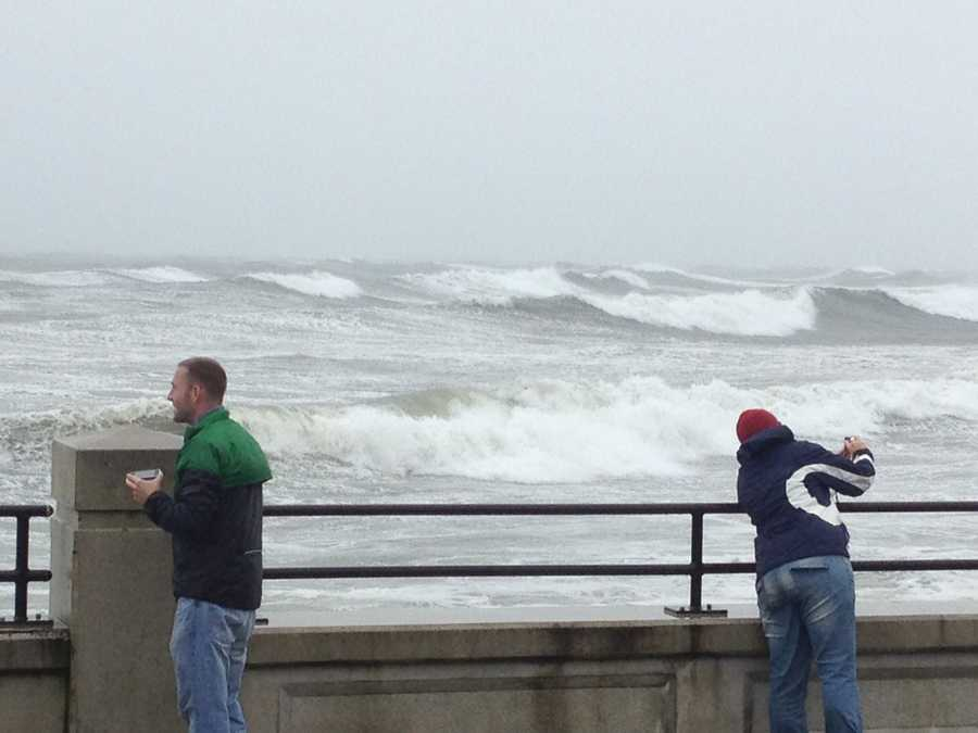 The scene at Hampton beach a few hours before the storm arrived.