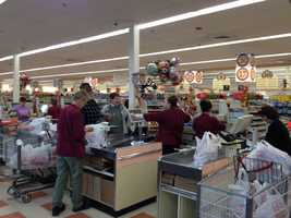 Customers were buying up supplies at a Market Basket in Nashua.