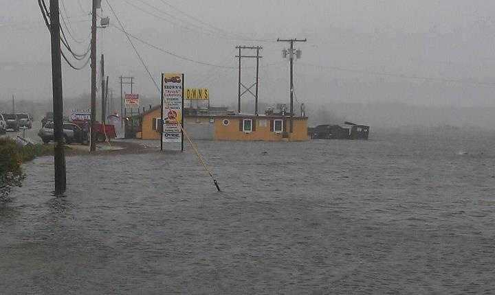 Flooding at Brown's Lobster Pound in Seabrook.