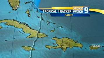 Sandy later became a Category 2 hurricane, causing damage across Cuba and the Bahamas.