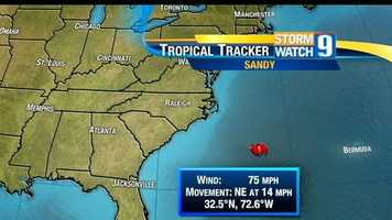 Rain bands from Sandy began to move into the Carolinas on Saturday, Oct. 27.