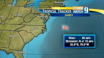 Over the Gulf Stream, Sandy strengthened, morphing into a strong Category 1 hurricane.