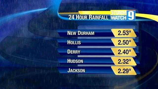 Several New Hampshire communities saw a lot of rain during the storm.