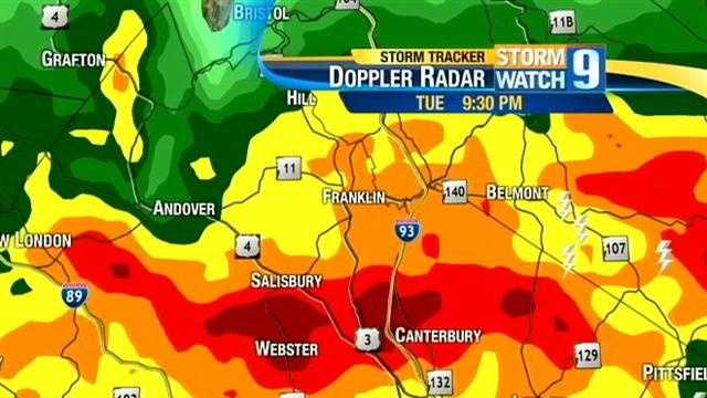 The storm then traveled through Rockingh, Merrimack and Belknap counties.