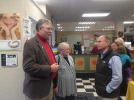 Republican congressional candidate Charlie Bass campaigning in Hollis on Saturday.