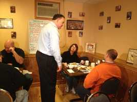 Frank Guinta campaigning at Chez Vachon in Manchester on Sunday.