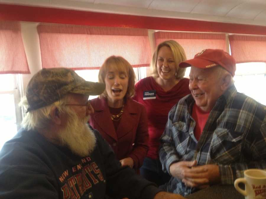 Democratic gubernatorial candidate Maggie Hassan campaigning at the Red Arrow in Milford on Saturday.