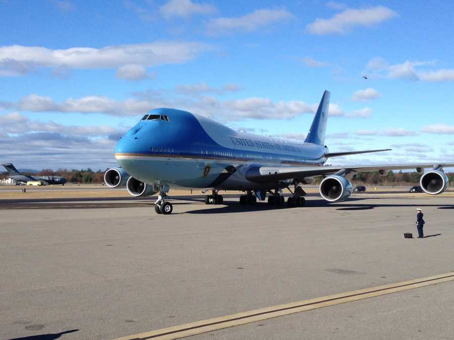 Air Force One arrived in New Hampshire after 9 a.m.