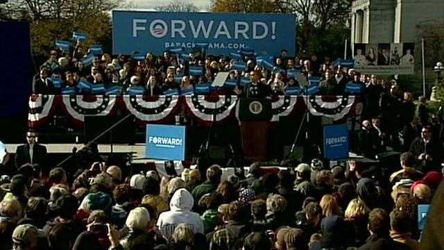 Former President Bill Clinton warms up the crowd in Concord as President Barack Obama fights for another four years in the office.