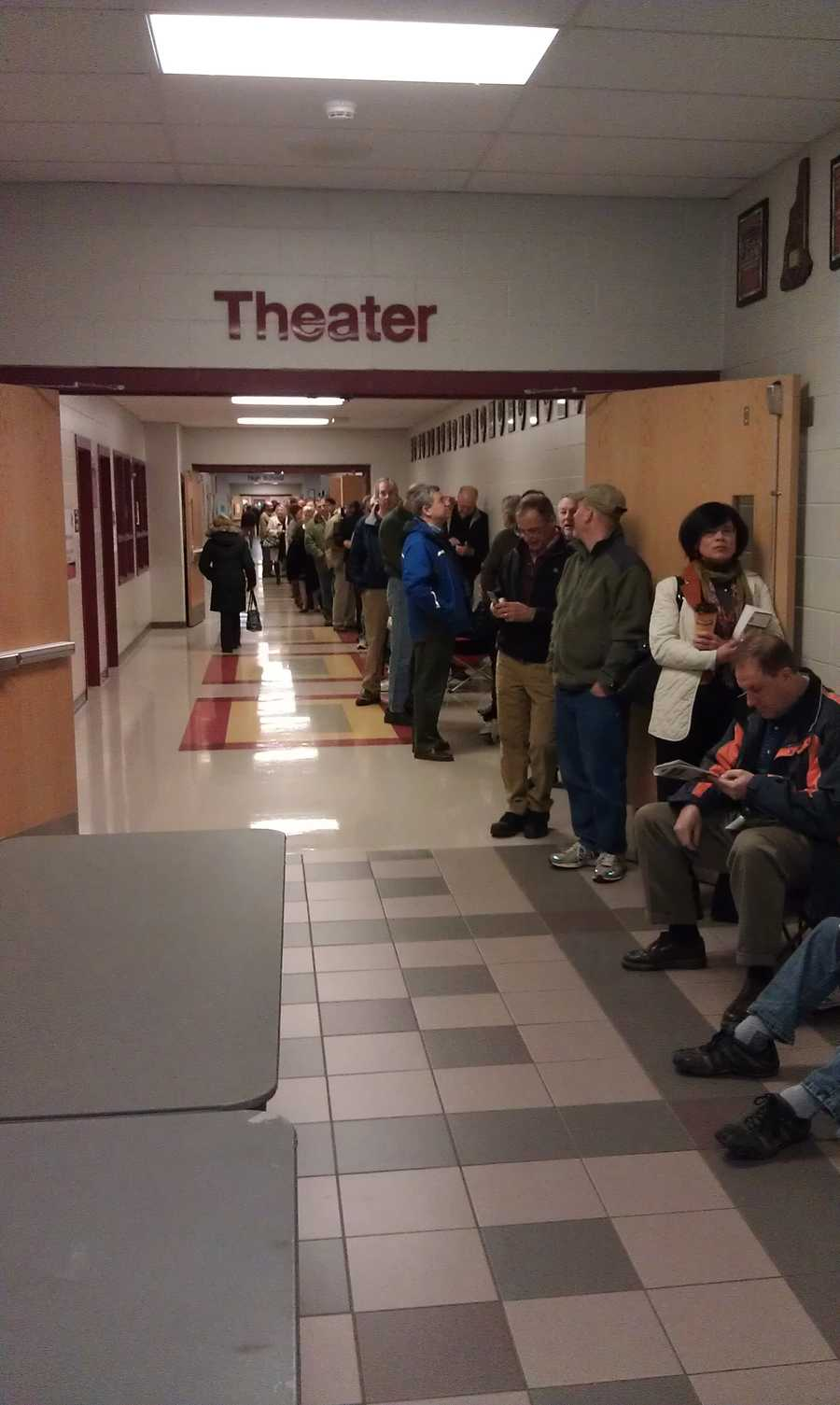 A viewer sent in this photo outside a polling location before 7 a.m. Look at those lines!