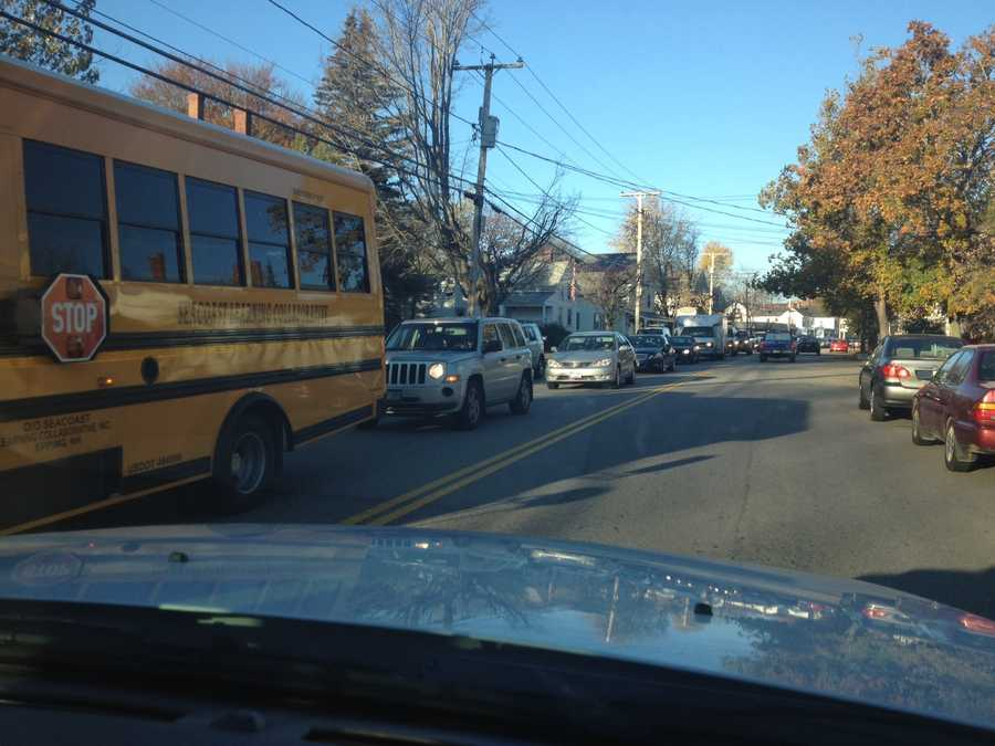 The traffic to enter a polling location in Exeter.