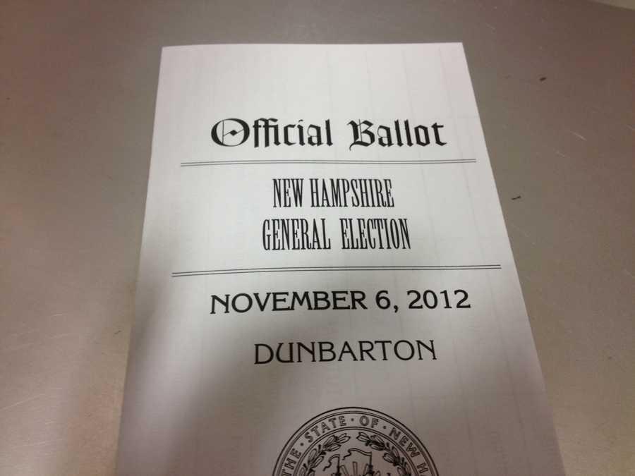 Official ballot for Dunbarton residents.