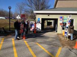 Supporters outside a polling location in Dunbarton.