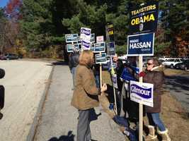 Maggie Hassan meeting with supporters.