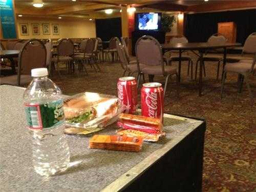 Dinner for the news crew at Kuster HQ. Turkey sandwich, water and Coke.