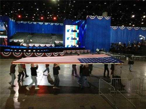Final touches in Chicago for President Obama gathering.