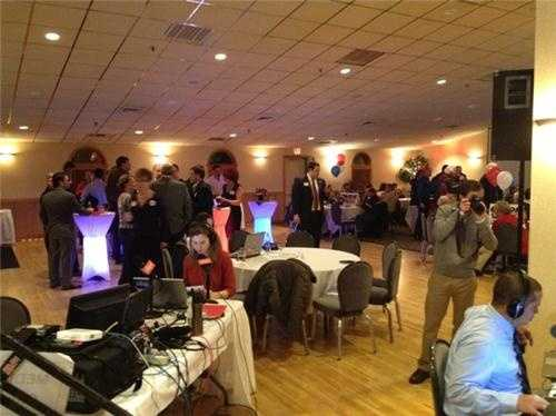 Party starts to fill in here at Ovide Lamontagne's HQ in Manchester.