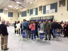 Lines for voting in Londonderry.