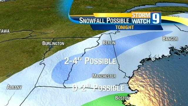 A Nor'easter is expected to bring snow, mix and rain to New Hampshire on Wednesday.