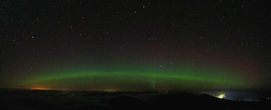 Aurora Borealis was captured from atop Mt. Washington overnight into Wednesday morning. Photos courtesy of Mt. Washington Observatory.