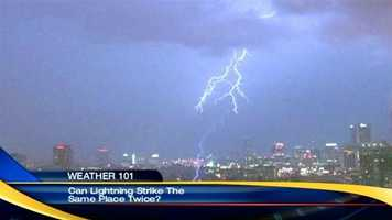Can lightning strike the same place twice? Yes. The Empire State Building is hit by lightning strikes 20 times per year. Watch Kevin's explanation.